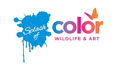 "Promotional graphic for the ""Splash Of Color: Wildlife + Art"" exhibition at Living Coast Discovery Center."