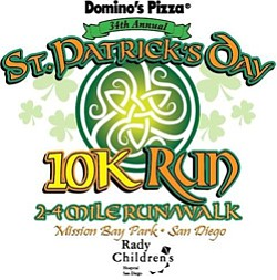 Promotional graphic for 34th Annual St. Patrick's Day 10K Run, 2 & 4 Mile Run/Walk on March 15, 2014.