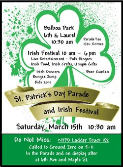 Promotional flyer for St Patrick's Day Parade on March 15, 2014. Courtesy graphic of Irish Congress of Southern California.