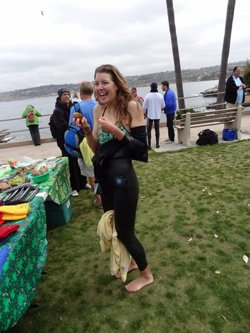 "Promotional photo of La Jolla Cove Swim Club's ""Spuddo in Your Speedo"" at St. Patty's Day Swim. Courtesy photo La Jolla Cove Swim Club."