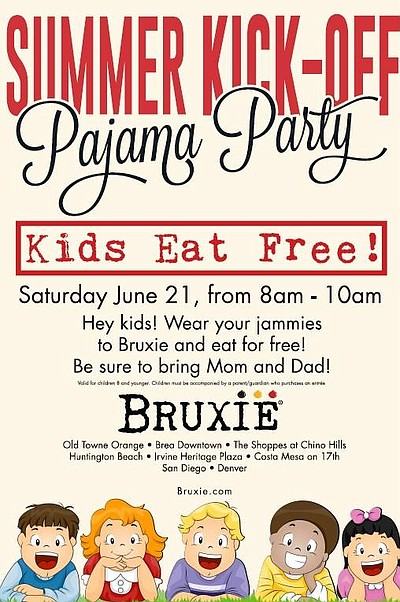 Promotional graphic for the Summer Kick-Off Pajama Party At Bruxie!