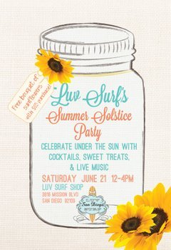 Promotional graphic for Luv Surf's Summer Solstice Party.