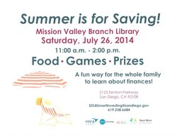 Promotional graphic for the Summer Saving event at Mission Valley Branch Library.