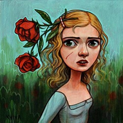 "Promotional photo of Kelly Vivanco's painting, ""Thorns"" 10x10"" acrylic on panel. Courtesy photo of Kelly Vivanco."