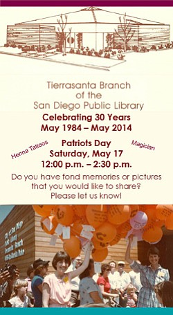 Promotional flyer for the Tierrasanta Branch Library 30th Anniversary Celebration on May 17, 2014.
