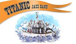 Promotional graphic for the Titanic Jazz Band playing at the SDJazzFest Sunday Concert.
