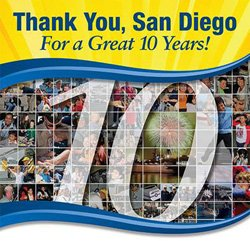 Promotional graphic for the 10 year anniversary of the USS Midway Museum.