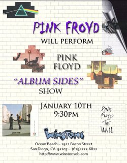 Promotional graphic for the Pink Froyd show at Winstons on January 10, 2014 at 9:30 p.m.