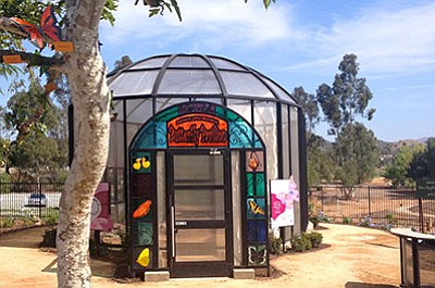 Promotional photo of the Dorcas Utter Memorial Butterfly Pavilion at the Water Conservation Garden. Courtesy of the Water Conservation Garden.