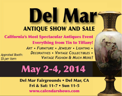 Promotional graphic for The Del Mar Antique Show & Sale.