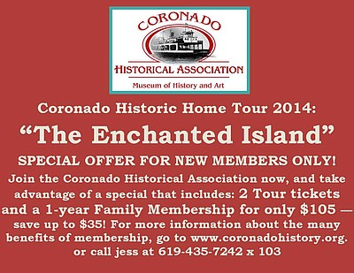 Promotional graphic for 2014 Coronado Historic Home Tour: 'The Enchanted Island'. Courtesy of Coronado Historical Association.