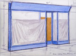 Christo Jeanne-Claude Blue Store Front Project, 1964, pencil, pastel, charcoal and brown wrapping paper, 7 x 10 1/2 inches, Collection Museum of Contemporary Art San Diego, Bequest of David C. Copley. © CHRISTO 2000. Photo: André Grossmann.