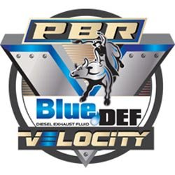 """Graphic logo for the PBR Professional Bull Riders' """"BlueDEF Velocity Tour""""."""