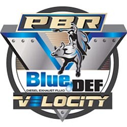 "Graphic logo for the PBR Professional Bull Riders' ""BlueDEF Velocity Tour""."