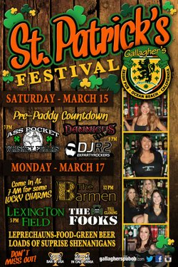 Promotional flyer for Gallagher's Irish Pub Paddy's Bash on March 15 and March 17, 2014. Courtesy photo of Gallagher's Irish Pub.