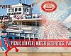 Promotional graphic for the July 4th Picnic Dinner & Fireworks Viewing at Maritime Museum.