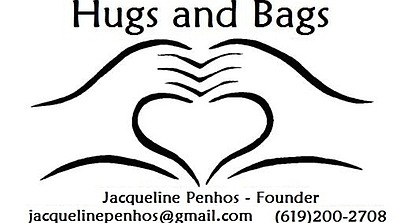 Promotional graphic logo for Hugs and Bags.