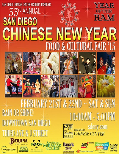Promotional graphic for the San Diego Chinese New Year Food and Cultural Fair: February 21 & 22, 2015