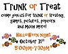 Promotional graphic for Trunk Or Treat at First Lutheran Church.