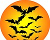Promotional graphic of bats flying in front of an orange moon.