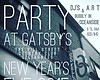 Promotional graphic for The Hill Street Country Club's NYE Celebration, Party at Gatsby's. Courtesy of The Hill Street Country Club.