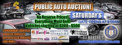 Promotional graphic for the public auto auction at Otay A...