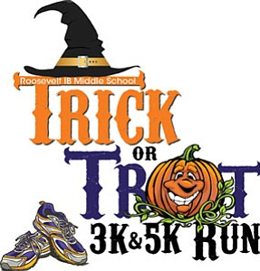 Promotional graphic for Trick or Trot 5K/3K Fun Run.