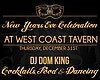 Promotional graphic for West Coast Tavern's New Year's Eve Celebration.
