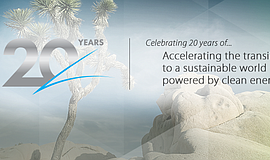 Promotional graphic forCenter for Sustainable Energy's 20th Anniversary Celeb...