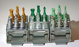 3D printed chess pieces.