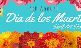 Promotional graphic for the Fourth Annual Día de los Muertos Skull Art Show. ...