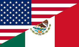 Promotional graphic of the US flag and the Mexican flag combined into a singl...