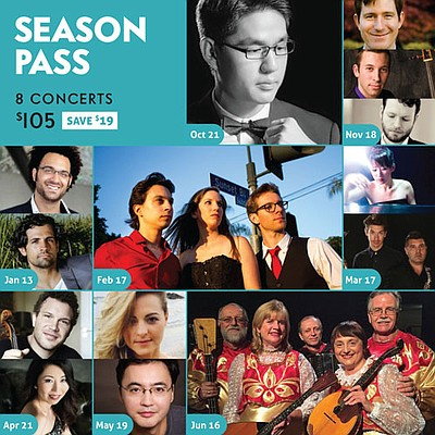 Promotional graphic for Encinitas' Music by the Sea Concert Series.