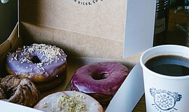 Photo of Nomad Donuts and coffee.