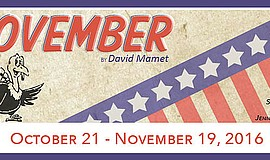 "A promotional poster for ""November"" at OnStage Playhouse."