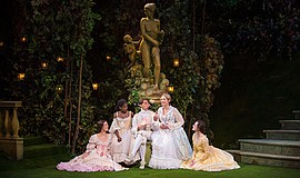 (from left) Amy Blackman as Maria, Pascale Armand as Rosaline, Kevin Cahoon a...