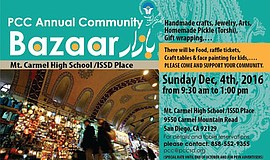 Promotional graphic for the PCC Annual Community Bazaar