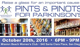 Promotional graphic for Pints & Pinots For Parkinson's. Courtesy of Parkinson...