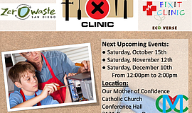 Promotional graphic for the San Diego Fixit Clinic.