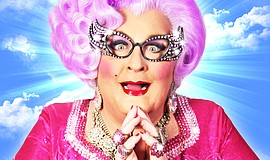 Promotional photo of Michael Walters as Dame Edna.
