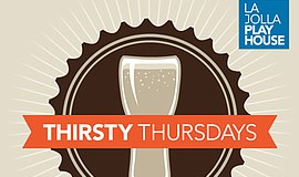 Promotional graphic for Thirsty Thursdays at La Jolla Playhouse