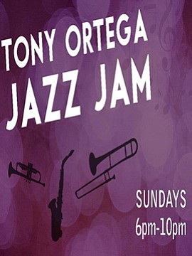 Promotional graphic for Jazz Jam With Tony Ortega. Courtesy of Mr. Peabody's Bar Grill & Live Music Venue