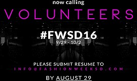 Promotional graphic for Fashion Week San Diego volunteer interviews.