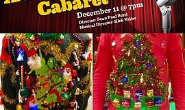 "Promotional graphic for ""A Holiday Cabaret"" and pictures of ugly Christmas sw..."