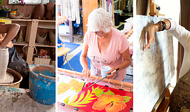 Promotional photos of LeucadiART Walk artisans, Hannie Goldgewitch in her stu...