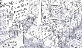 Promotional artwork sketch of the Upstart Crow Bookstore.
