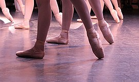 A stock photo of ballet shoes.