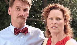 "Film still of Pete Gardner as Barry and Mandy Levin as Judy in ""Barry."""