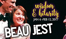 "Promotional graphic for Lamb's Players Theatre's ""Beau Jest."" The production ..."