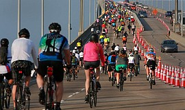 Bike riders on the Coronado Bridge. Courtesy of Bike the Bay.